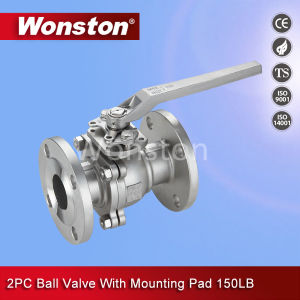 Stainless Steel 2PC Flanged End Ball Valve with Mounting Pad ANSI 150lbs