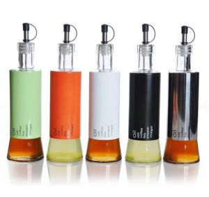 Stainless Steel Wrap Glass Oil Bottle with Lid pictures & photos
