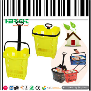Telescope Plastic Supermaket Rolling Shopping Basket pictures & photos