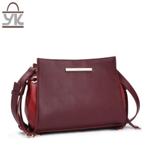 Contrast Color Leisure PU Leather Women Designer Handbags pictures & photos