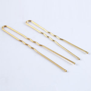 Women Fashion 6cm Golden U Shaped Metal Hair Pins (JE1052) pictures & photos