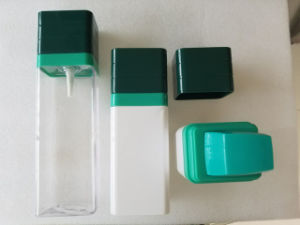 150ml Colored Square Cosmetic Cream Body Lotion PETG Bottle with Pump Cap Jj-026 pictures & photos