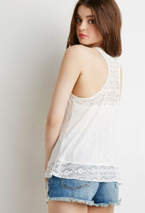 Floral Lace-Paneled Slub Tank Top Women Clothes pictures & photos
