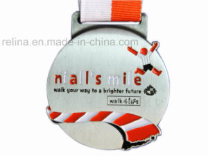 Marathon Soft Enamel Antique Silver Winning Medal with Ribbon