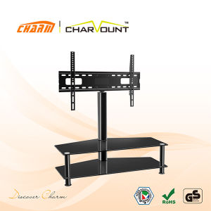 Classial 2 Tiers Tempered Glass Floor Standing TV Mount Left U0026Right  Rotatable (CT FTVS F103B)