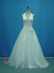 Real Sample Beaded Halter with Flower Wedding Dresses (WD0072) pictures & photos