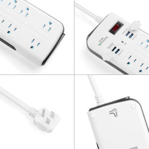 1875W Portable Power Strip 8 Outlets Extension Socket with 4 USB Quick Charge Port and Switch pictures & photos