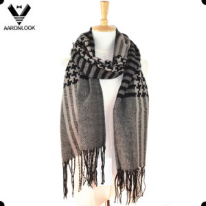 Fashion Checked Pattern Woven Scarf with Fringes pictures & photos