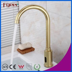 Goose Neck Golden Sensor Water Tap Automatic Basin Faucet pictures & photos