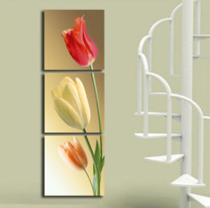 Framed Art Print Picture Wall Art Home Decorative Tulips Painting 3 Piece Canvas Art Free Shipping Mc-188 pictures & photos