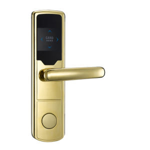 62mm Electronic Hotel Door Lock / Card Lock with Plated Gold Finishing pictures & photos