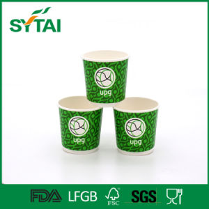 Logo Printed Disposable Green Double Wall Paper Tea Cup pictures & photos