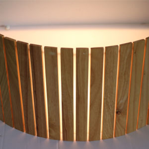 Modern Restuarant Decorative Natural Oak Wooden Semicricle Wall Lamp pictures & photos