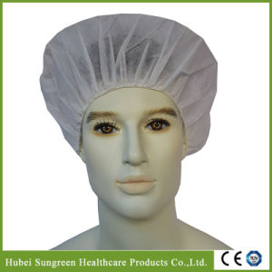 Disposable Non-Woven Round Bouffant Cap with White Color pictures & photos