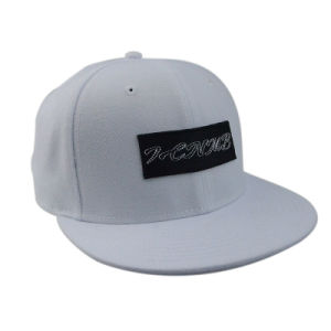 Simple White 6panels Cotton Snapback Cap with 3D Embroidered pictures & photos