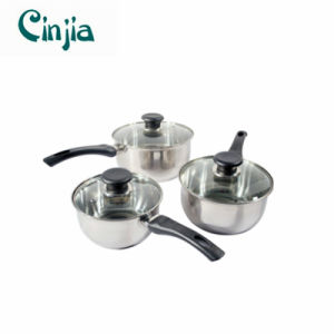 Amazon Vendor 3PC Stainless Steel Cookware Saucepan Set Kitchen Cook pictures & photos