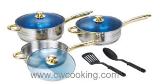 8PC Stainless Steel Frypan with Blue Glass Lid pictures & photos