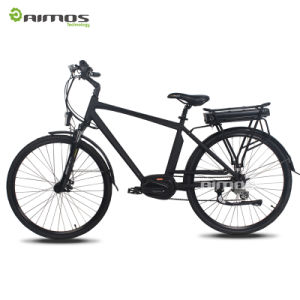 Aimos OEM China MID Drive Motor 700c Electric City Bike with Rear Carrier Bike pictures & photos