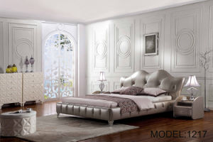 High Headboard Leather King Size Bed for Hotel (LB-043)