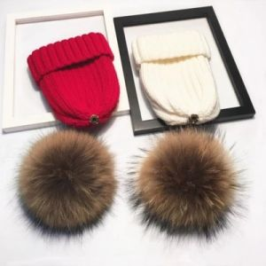 Winter Caps with Real Fur Balls pictures & photos