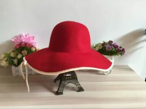 Promotional Wide Brim Red Colour Wool Lady Hat for Woman pictures & photos