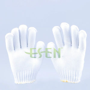 High Quality Seamless Kintted Nature White Polyester Gloves pictures & photos