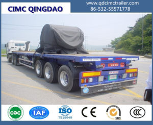 40FT Flatbed/Flat Top/Platform Semi Truck Trailer with Air Suspension and Single Tire pictures & photos