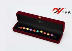 Square Plum Velvet Jewelry Box Set pictures & photos