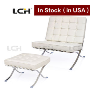 Modern Leather Barcelona Chair and Ottoman in Stock pictures & photos