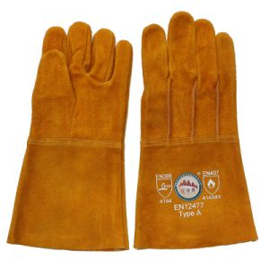 Long Cow Split Leather Welding Hand Protective Gloves From Gaozhou Factory, China pictures & photos
