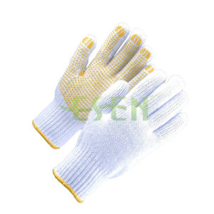 Pointed Bead Gloves Dotted Safety PVC Yarn Cotton Gloves pictures & photos
