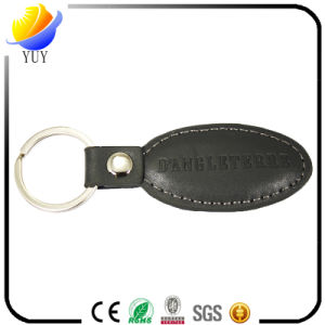Rectangle and Oval Real Black Leather with Stamp Logo Keyring pictures & photos