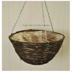 12inch (30cm) Dark Rattan Hanging Basket pictures & photos