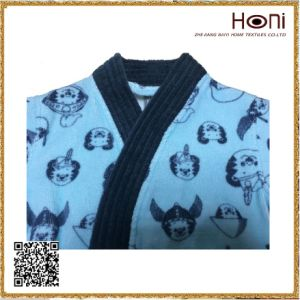 Blue Printed 100% Cotton Kids Bathrobe pictures & photos