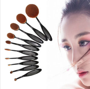 New Fashion 10PCS Toothbrush Type Cosmetic Tool Oval Makeup Brush