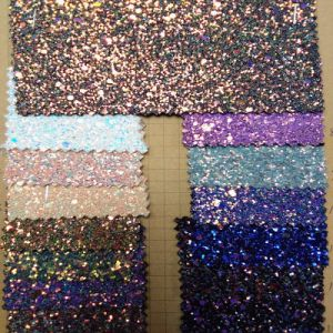 Colourful Glitter PU Leather for Shoes with T/C Backing (HS-M303) pictures & photos