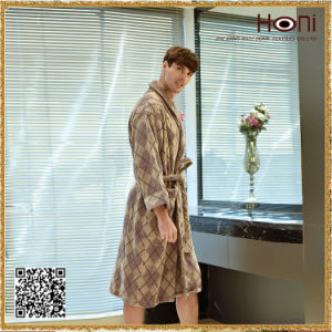 D-017 OEM Service Cheap Men Checks Pattern Bathrobe pictures & photos