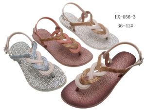 Latest Ladies Slippers Shoes and Flip-Flop PVC Sandals pictures & photos