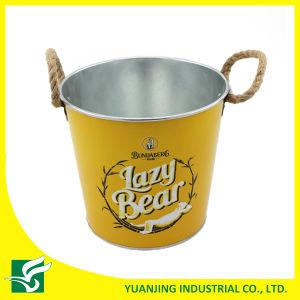 Home Decoration Metal Zinc Bucket with Hemp Rope Handle pictures & photos