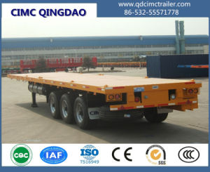 Cimc Tri-Axle Flatbed Trailer, 40FT 45FT Container Semi Trailer Truck Chassis pictures & photos