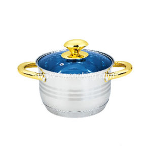 Stainless Steel Stock Pot with blue Glass Lid pictures & photos