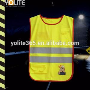 High Quality En1150 Lime Yellow/Rose Pink/Green Reflective Kids Vest with Customed Logo pictures & photos