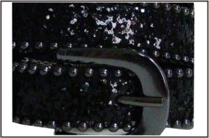 Fashion Black Glitter PU Lady′s Belt pictures & photos