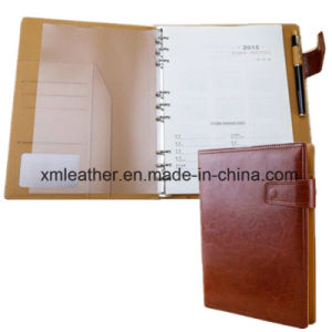 Hardcover Leather A4 Ring Binder Diary Notebook pictures & photos