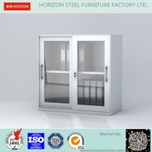 Steel Low Storage Cabinet Office Furniture with Double Sliding Steel Framed Glass Doors and Epoxy Powder /Filing Cabinet pictures & photos