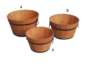 Decorative Garden Wood Flower Pot Plant Holder Metal Planter pictures & photos