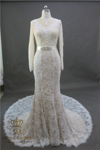 New 2017 Backless Mermaid Sexy Wedding Dress Applique Lace Long Sleeve Wedding Gowns Bridal Dresses pictures & photos
