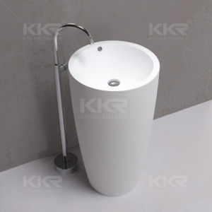 Bathroom Solid Surface Pedestal Wash Basin pictures & photos