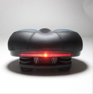 Bicycle Saddle Leather Soft Mountain Bike Seats with Taillights pictures & photos