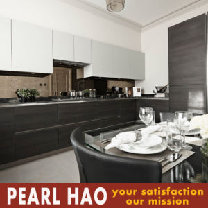 Black Meet White Melamine Kitchen Cabinets Korea Market pictures & photos